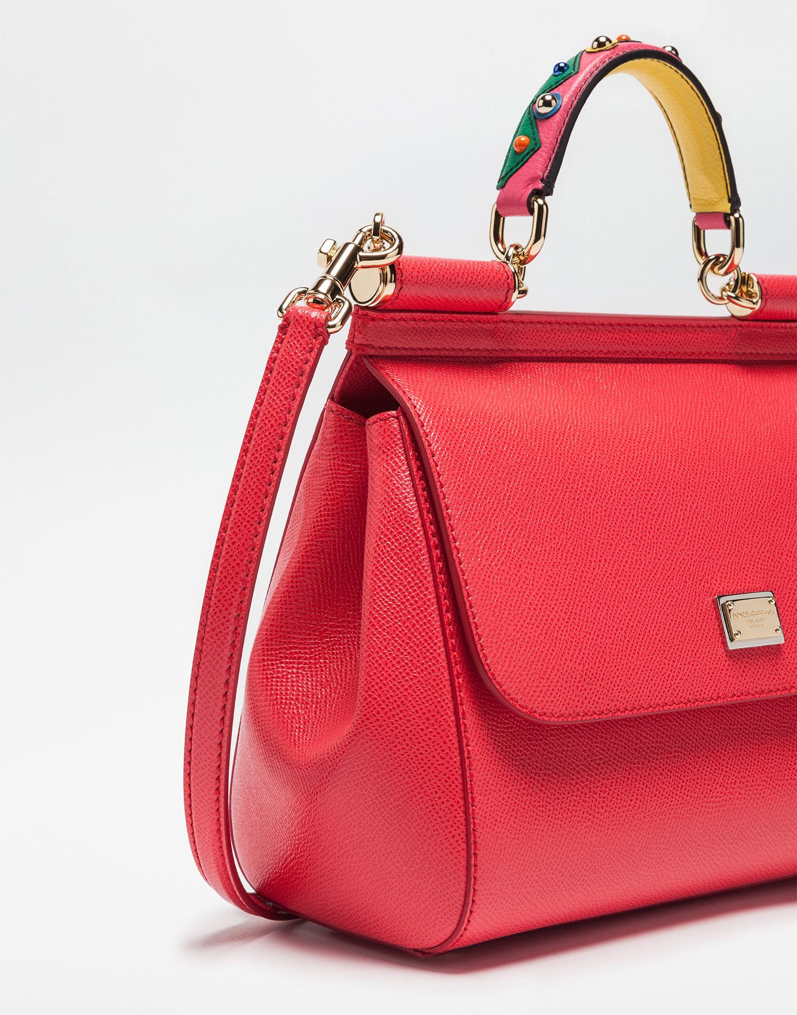 BORSA SICILY Dolce Gabbana MEDIA IN PELLE DAUPHINE CON MANICO RICAMATO de95eece45696
