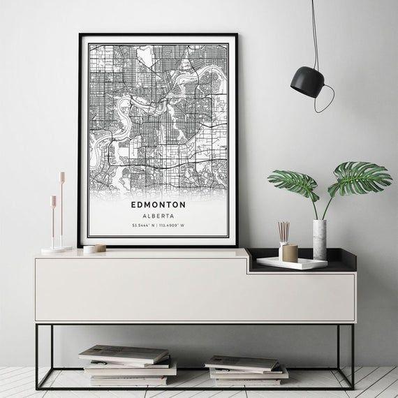 Edmonton Map Print Minimalistic Wall Art Poster City Maps Etsy In 2020 Scandinavian Wall Art City Map Artwork Poster City