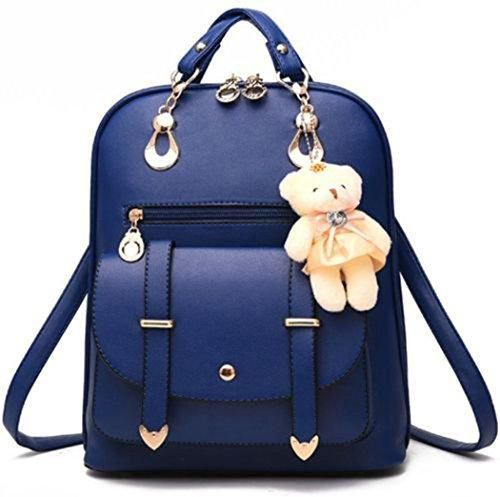 Comprar Ofertas de Mujeres Moda Niña PU Cuero Escuela Bolsa De Hombro  Mochila Viaje Mochila Bolsa (Azul) barato. ¡Mira las ofertas!