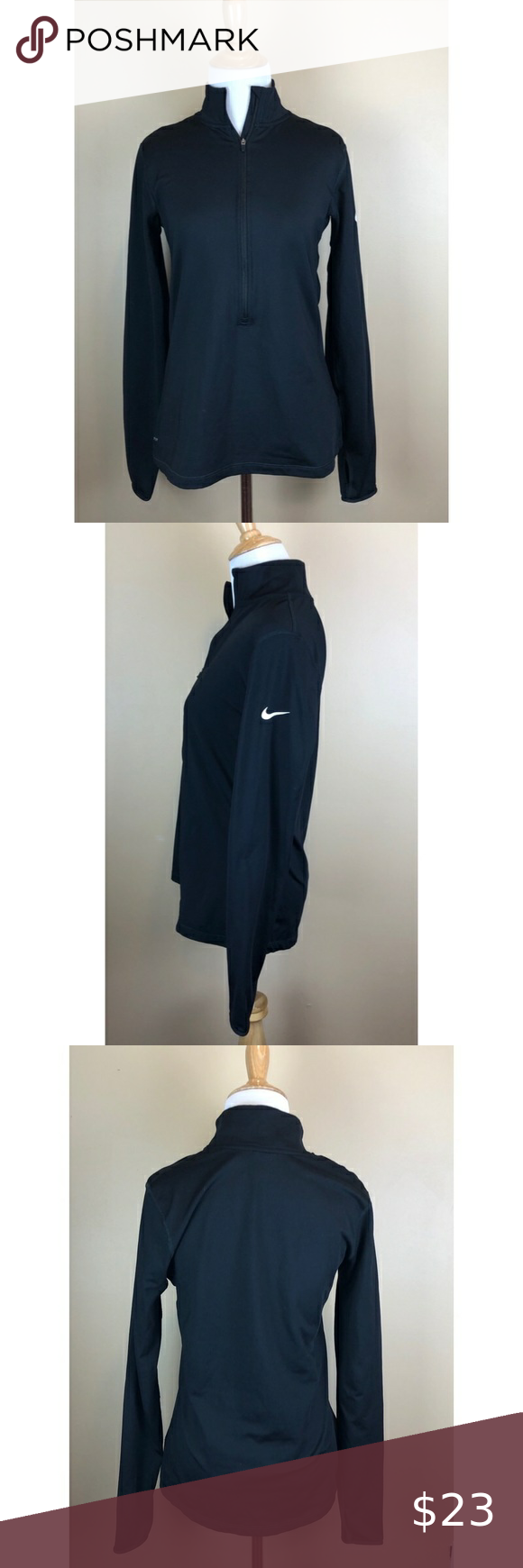 Nike Pro Black Long Sleeve 1/4 Zip Workout Top L Size: large  Color: black Brand: Nike Conditon: great, gently used no flaws to note   This Nike Pro Black Long Sleeve 1/4 Zip Workout Top L is very cute and comfortable. This has thumb holes as well. Semi Tight fit, great for working out or even lounging. Nike Tops Tees - Long Sleeve