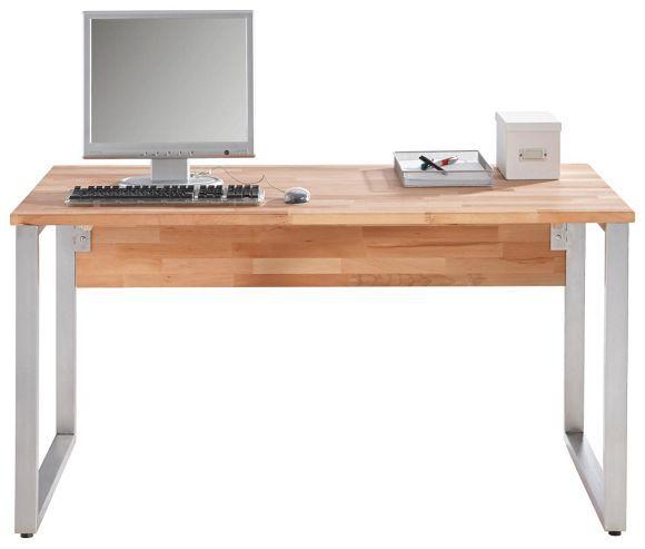 """Der moderne Schreibtisch """"Oklahoma"""" von CARRYHOME ist das Schmuckstück in Ihrem Arbeitsbereich! Die Tischplatte ist aus massiver Kernbuche gefertigt und wurde für Sie geölt. Zum natürlichen Holz setzt das Gestell aus Edelstahl einen geschmackvollen Akzent. Dank der großzügigen Arbeitsfläche von ca. 140 x 70 cm (B x T) können Sie auf diesem Schreibtisch bequem arbeiten. Ob mit Stift oder PC: in diesem schönen Ambiente gehen Schreibarbeiten leicht von der Hand"""