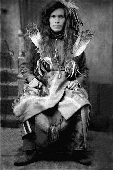 """Lake man named Chief Edward. The Lake Indians call themselves Senijextee and possibly identify as the """"Lahanna"""" of Lewis and Clark in 1805. A small tribe of Salishan stock, originally ranging along Columbia River in northeast Washington from about Kettle Falls to the British line. In 1820 Fort Colville trading post was established by the Hudson Bay Company in their country, but they remained almost unchanged until Christianized in 1846."""