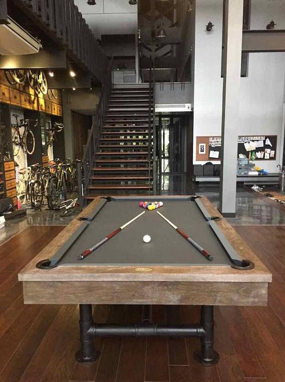 Gentil 7u0027 Or 8u0027 Industrial Pool Table Weathered Pool Table
