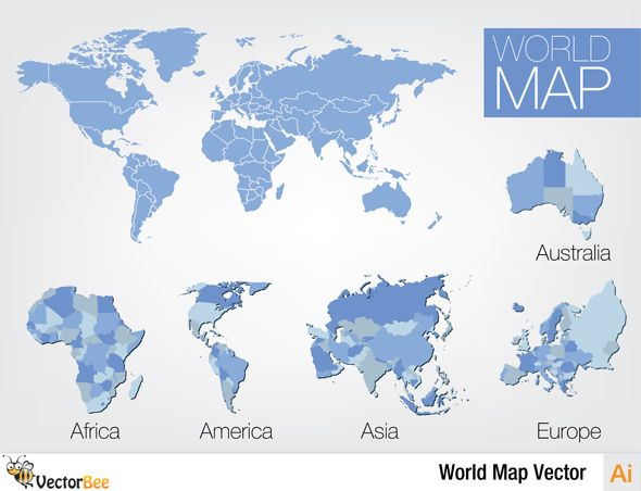 Download This Free World Vector Map With Africa America Asia
