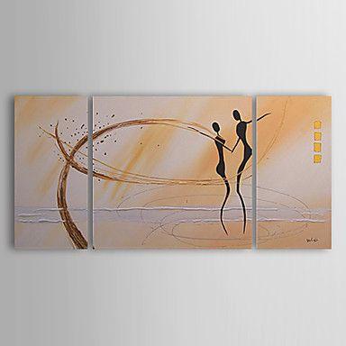 Hånd-malede Abstrakt / Mennesker Tre Paneler Canvas Hang-Painted Oliemaleri For Hjem Dekoration – DKK kr. 525