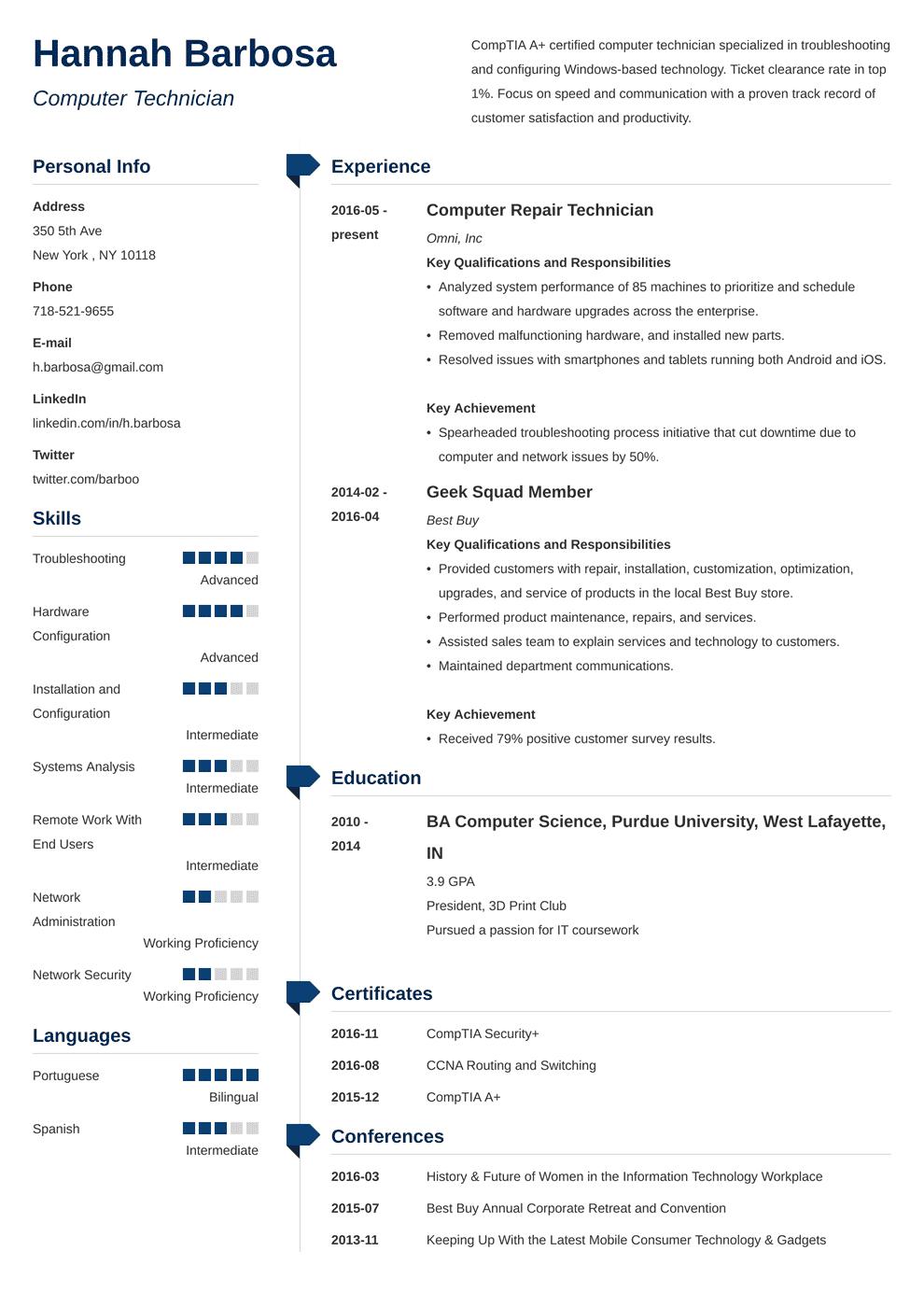 Computer Technician Resume Sample & Job Description