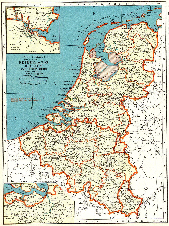 1940 Antique NETHERLANDS Map of the Netherlands Belgium Map ...