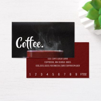 Bright Coffee Steam Simple Mountain Punch-Card Loyalty Card Pinterest