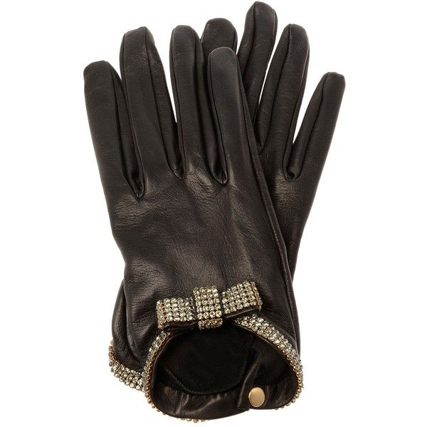 CAUSSE ?Grace? short lamb leather gloves with crystal bow ($570) ❤ liked on Polyvore