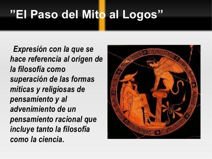 Paso Del Mito Al Logos Mitos Filosofia Pensamientos
