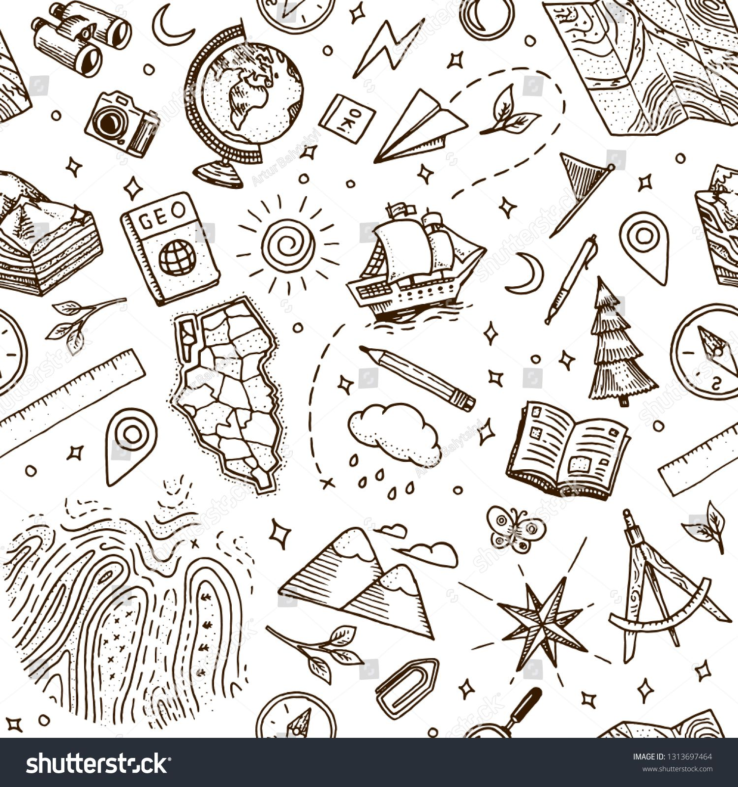Geography Symbols Seamless Pattern Equipments For Web Banners