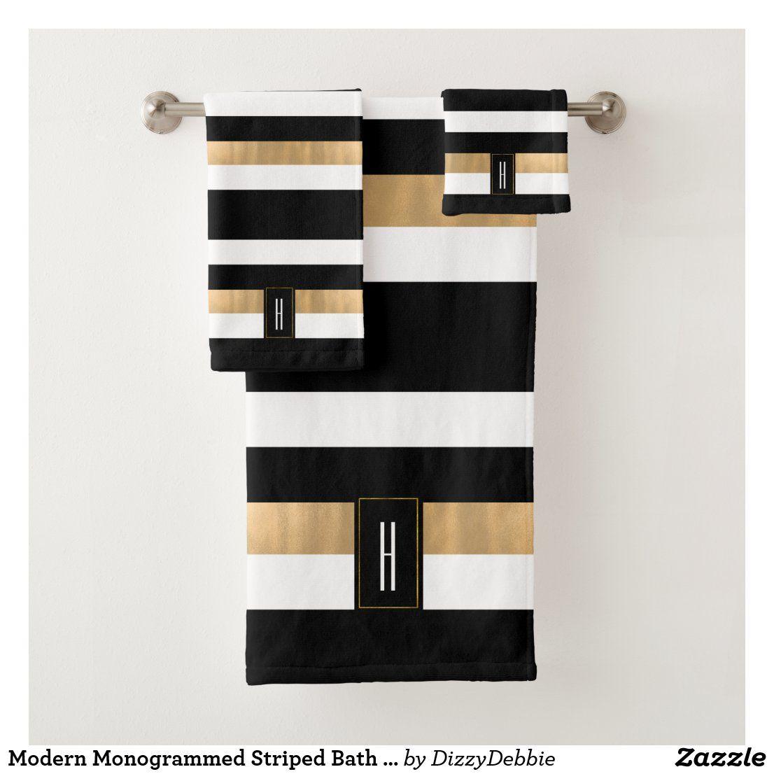 Modern Monogrammed Striped Bath Towel Set  Zazzle.com in 6