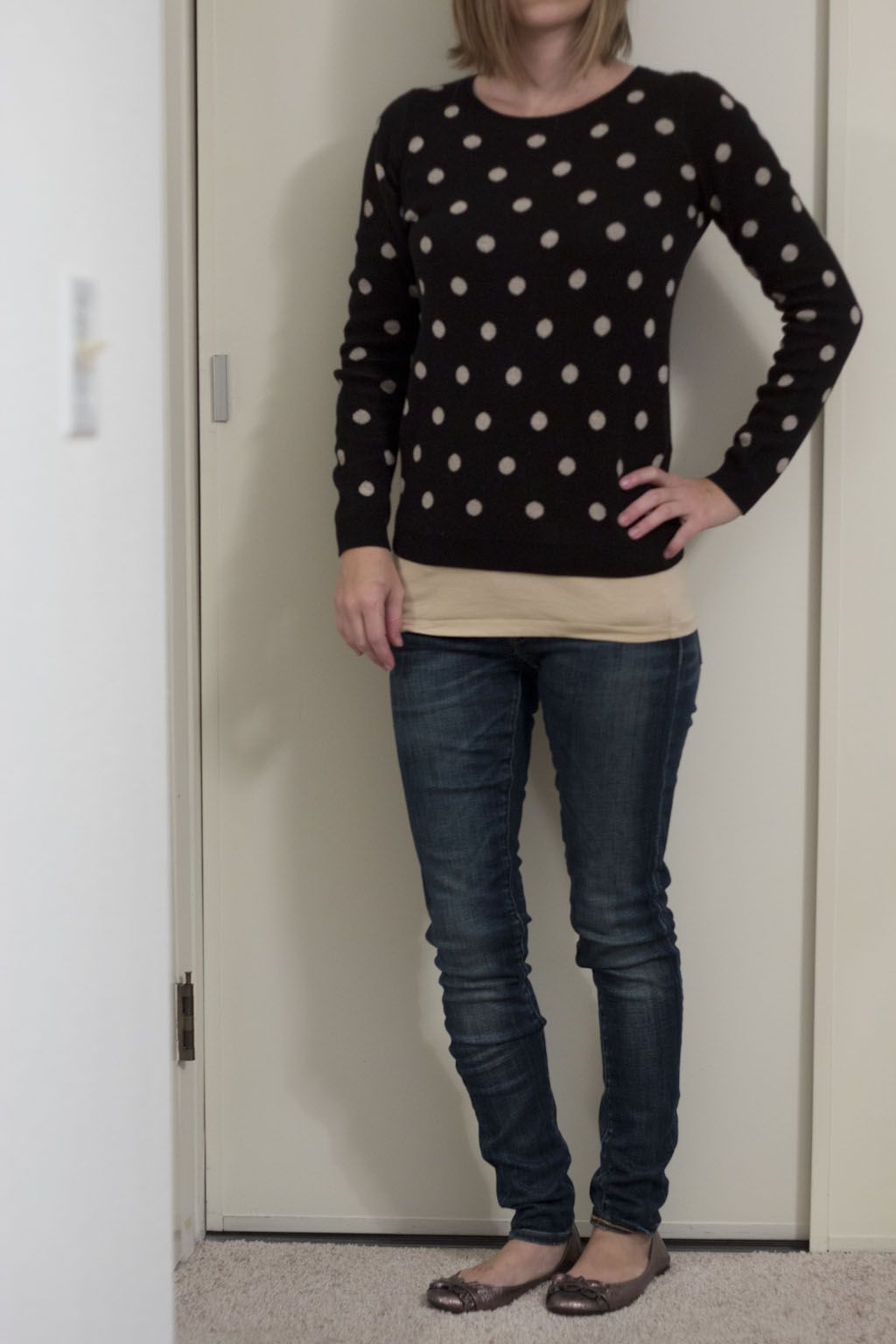 Black and tan Polka Dot Old Navy Sweater, Layered tank, skinny ...