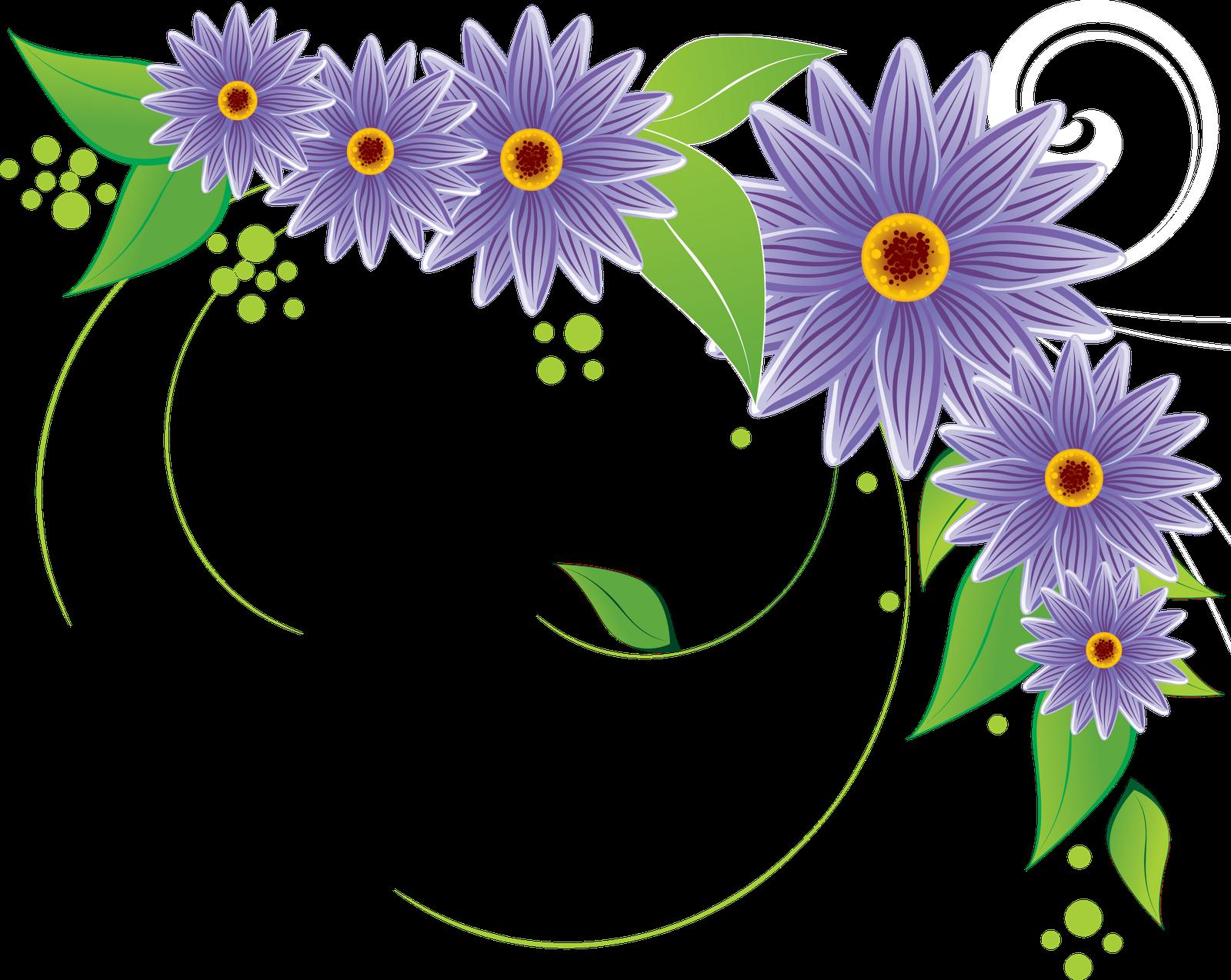 Purple Flower corner border 1600x1274 | Clip Art Everyday ...
