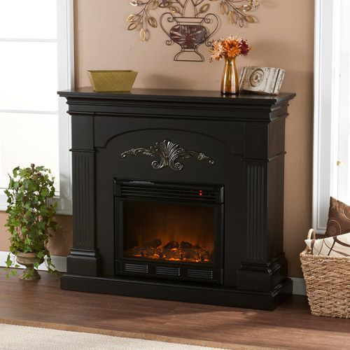 Southern Enterprises Chamberlain Electric Fireplace, Black with Gold Accents - Southern Enterprises Chamberlain Electric Fireplace, Black With