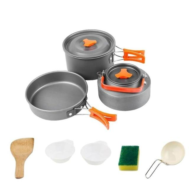 Cooking Set for Camping Portable Pot Set Outdoors for Hiking Picnic Travel Cookware Kits Easy Aluminum Foldable 1-2 Persons