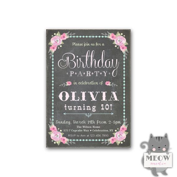 Kids Birthday Invitations For Girls 10th Party Invites