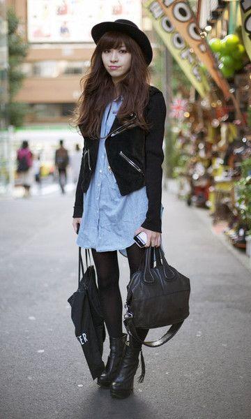 Look Street Style Tóquio: Chemise Jeans