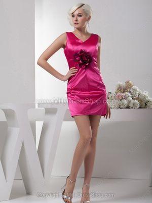 Sheath/Column V-neck Elastic Woven Satin Short/Mini Flower(s) Cocktail Dresses