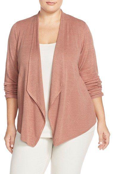 Eileen Fisher Silk Drape Front Cardigan (Plus Size)