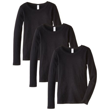 e615919b Girls Clementine Everyday Long-Sleeve T-Shirts (Pack of 3), Size: X-Large  (14-16), Black