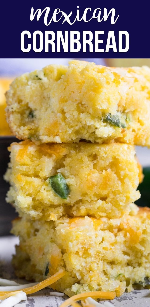 This EASY Mexican Cornbread recipe is one of the best cornbreads I've ever had! The cornbread mix is filled with jalapeños and cheese making this the perfect side dish. #easypotluckrecipes