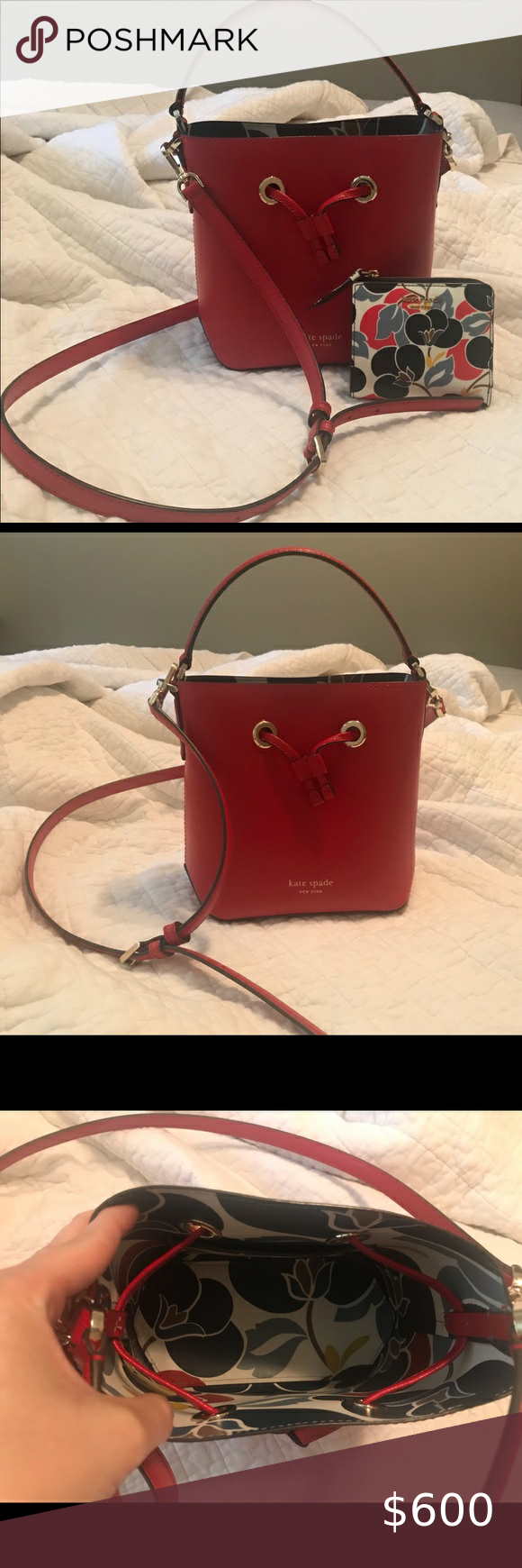 Kate Spade Eva red bucket bag and matching wallet Perfect sized leather bucket b…