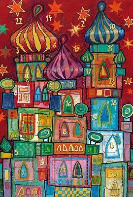 weihnachtskarte mit adventskalender kunstmotiv. Black Bedroom Furniture Sets. Home Design Ideas