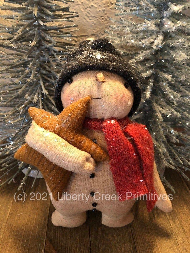 PATTERN Primitive Snowman Doll in Mitten w// Star /& Heart UNCUT Threadbare Prims