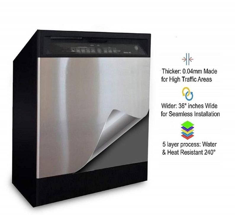 Update Dishwasher Appliances With Faux Stainless Steel Satin Etsy In 2020 Stainless Steel Paint Black Stainless Steel Kitchen Dishwasher Cover