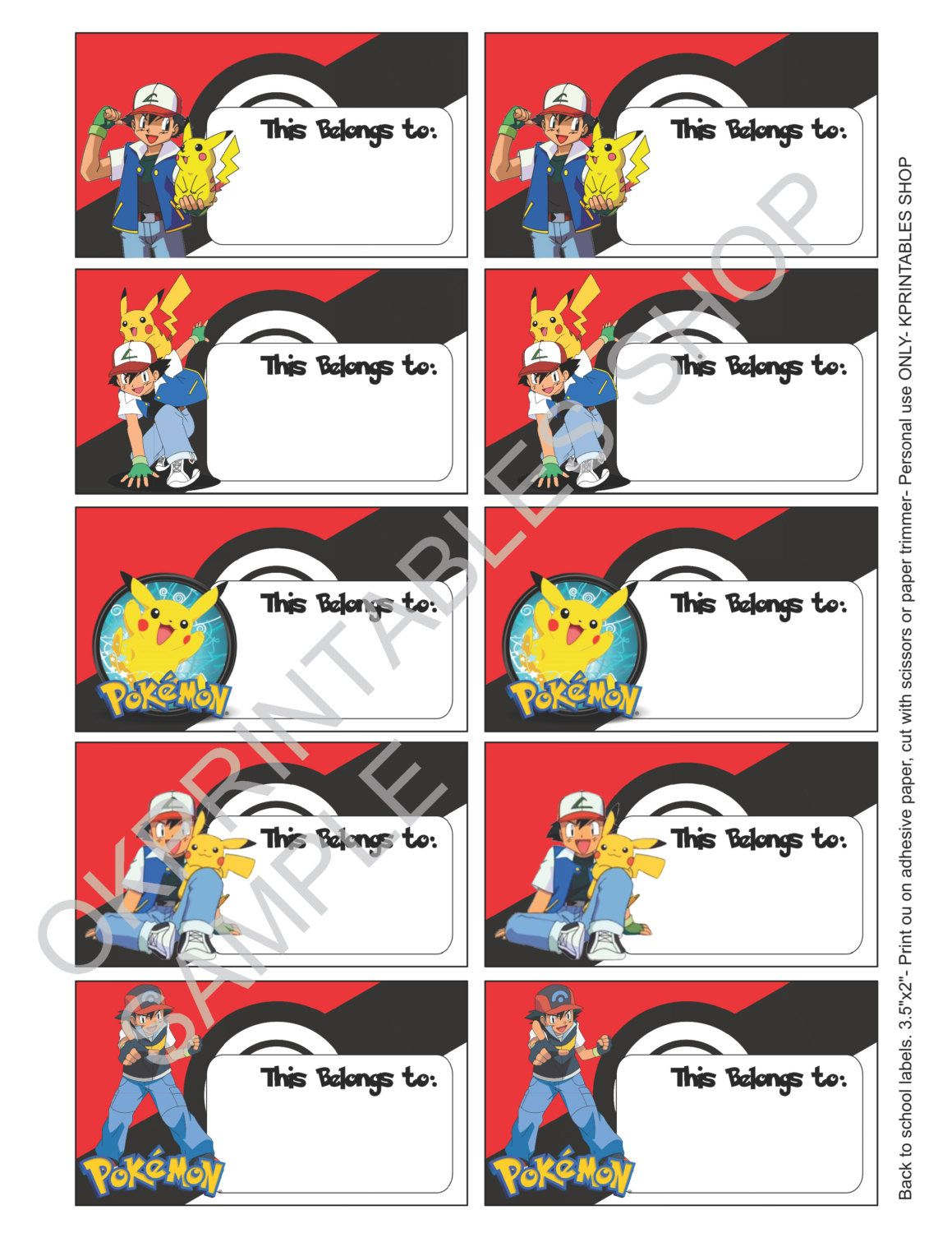 pokemon labels for school supplies labels printable - set of 10