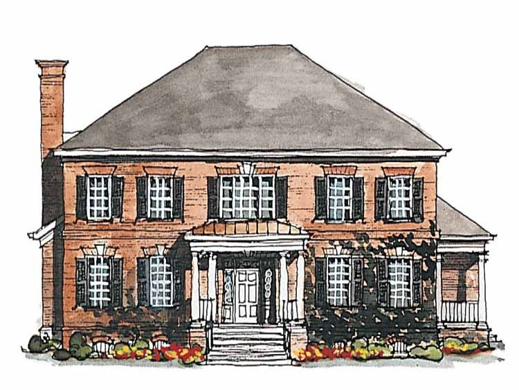 Classical Style House Plan 4 Beds 3 5 Baths 3380 Sq Ft Plan 429 185 Brick House Plans Colonial House Plans Brick Exterior House
