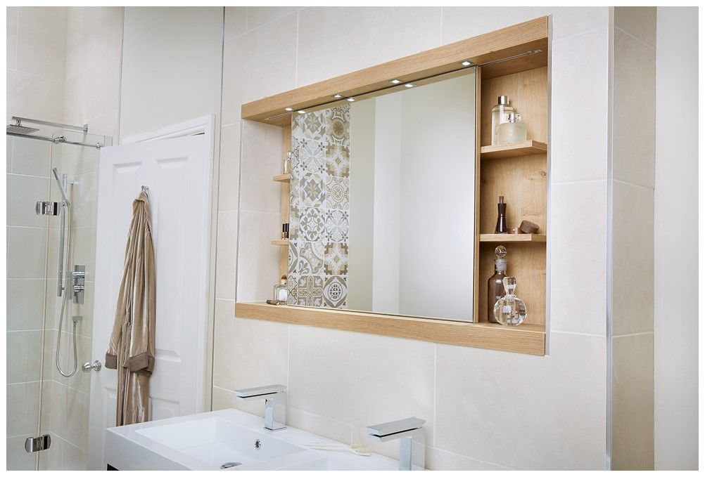 Sliding Bathroom Mirror Cabinet In Warm Textured Eton Oak Bathroomfurniture Mirrors Myutopia
