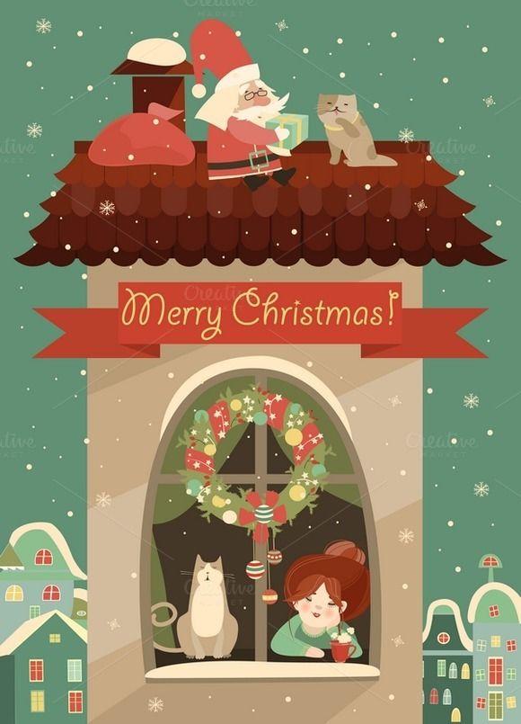 24eccec21b Santa Claus gives Christmas gift by masastarus on Creative Market ...