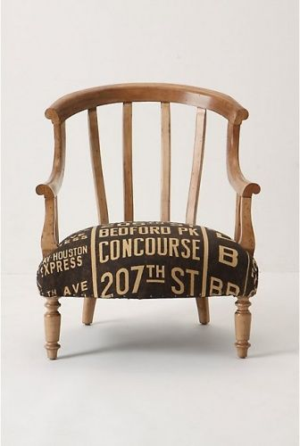 Ordinaire Short Legs Old Chair Recovered Stenciled Burlap Old Sack Print