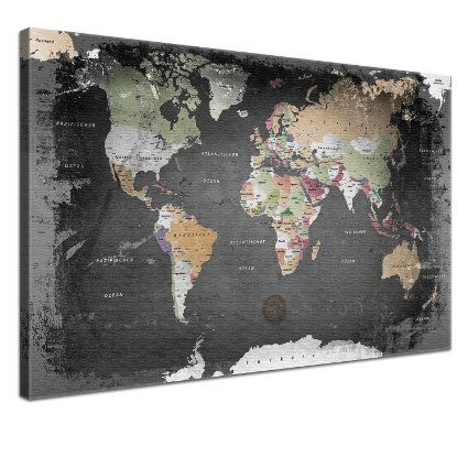 lanakk carte du monde sur toile fa on graphite face arri re en li ge reproduction sur ch ssis. Black Bedroom Furniture Sets. Home Design Ideas