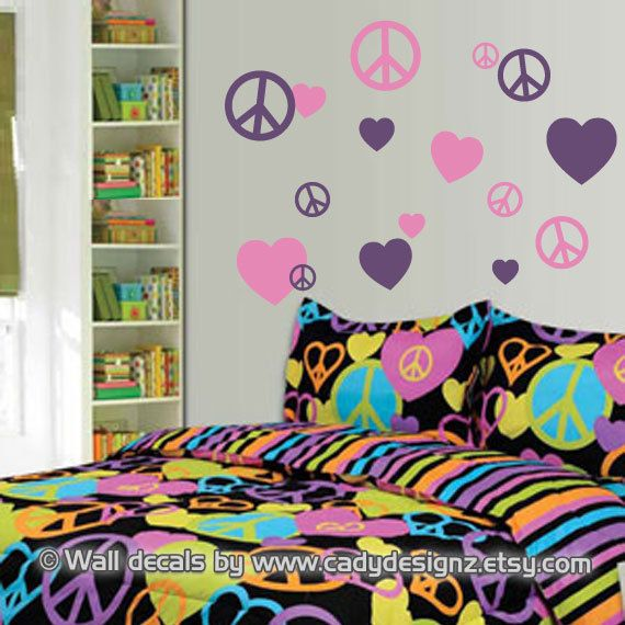 Peace Sign Decorating Ideas Stunning Peace Signs And Hearts Vinyl Wall Decals  Childrens Decor  Girls Design Inspiration