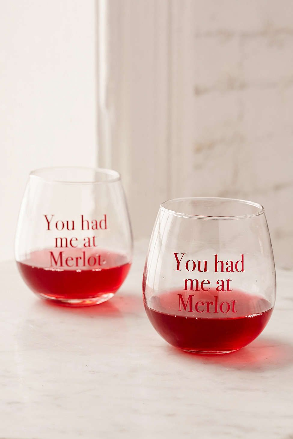 You Had Me At Merlot Stemless Wine Glasses Set Wine Glass Stemless Wine Glasses Wine