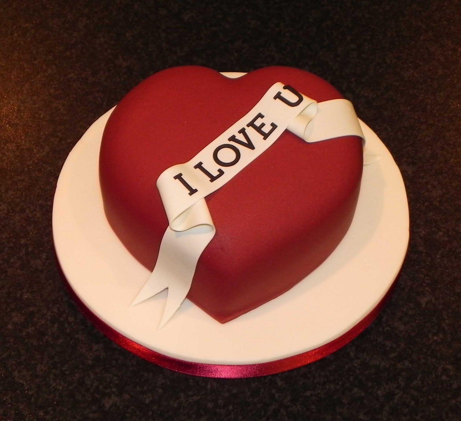 Red And Black Heart Heart Shaped Birthday Cake Valentine Cake