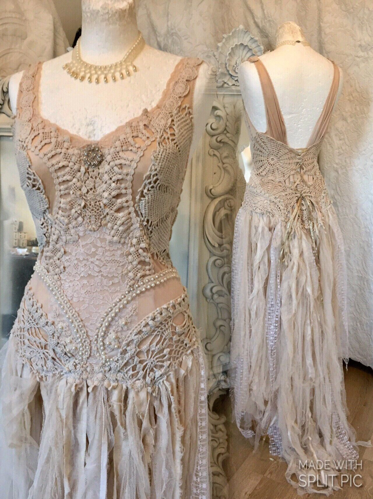 Boho wedding dress misty blushalternative wedding dress tea stained