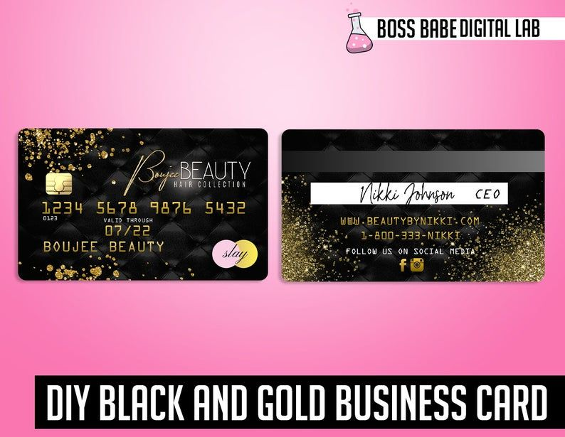 Diy Gold Credit Card Business Cards Gold Glitter Credit Etsy Credit Card Design Diy Business Cards Business Credit Cards