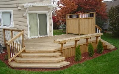 pleasing small backyard decks patios. Great small deck with wide stairs to yard  needs be stained and the pergola larger make it more pleasing look at ea52ef3478907c2a18e3a8f6b9fd86c9 jpg JPEG paveikslas dydis 400