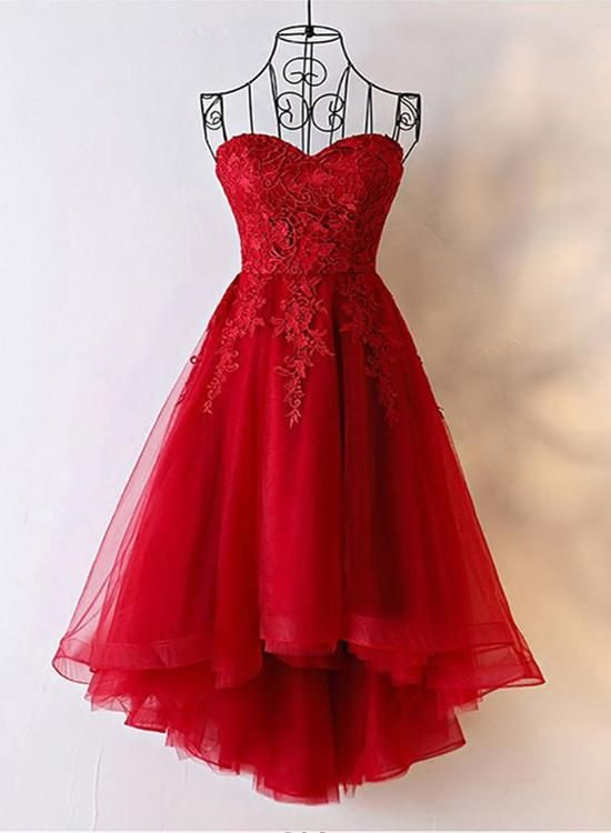 Red Sweetheart Tulle High Low Homecoming Dress , Red Party Dress