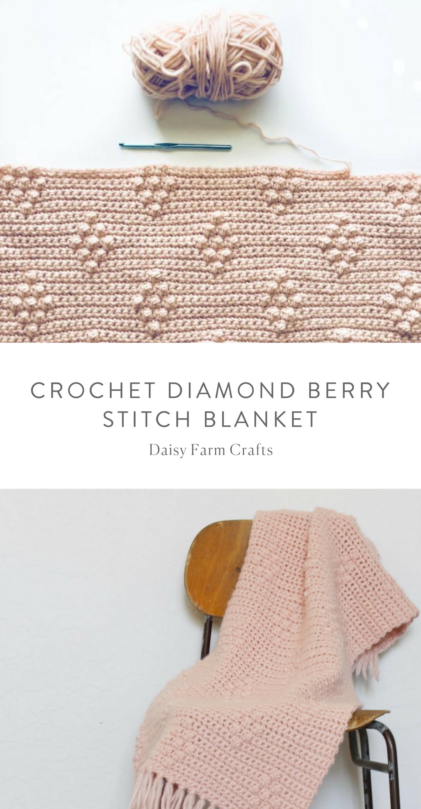 Free Pattern - Crochet Diamond Berry Stitch Blanket #crochet ...