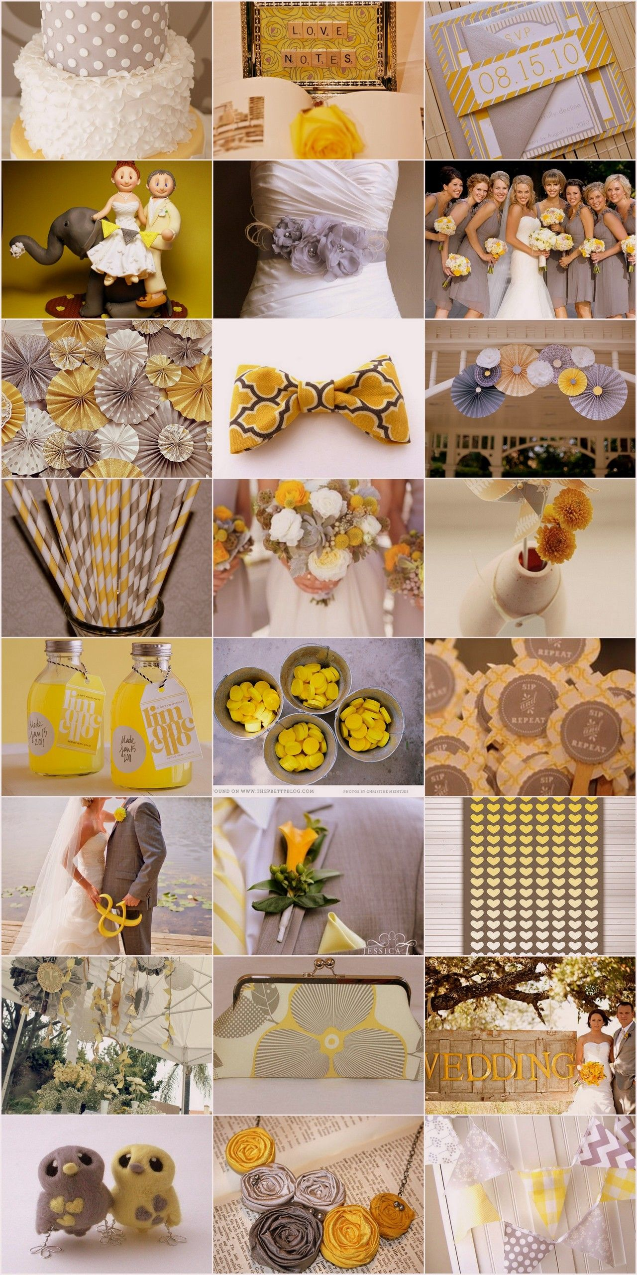 Yellow and Grey Wedding Theme - Wedding decor, stationary, bridal looks and your wedding eats, drinks and treats - Be inspired by our collection of Yellow and Grey wedding ideas! #yellow #grey #wedding #theme  ♥  ♥  ♥ LIKE US ON FB: www.facebook.com/confettidaydreams  ♥  ♥  ♥