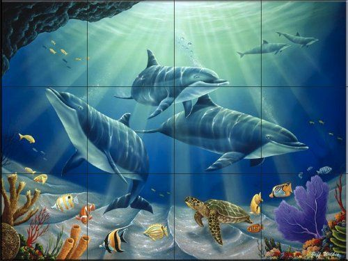 Dolphin Family By Jeff Wilkie Kitchen Backsplash Bathroom Wall Tile Mural The Tile Mural Store Http Www Amazon Com Dolphin Family Dolphins Dolphin Images