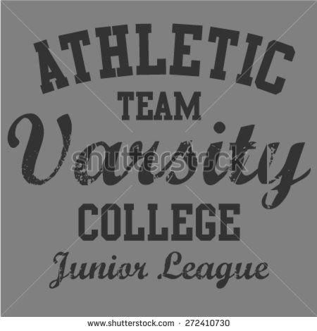 Athletic varsity college T-shirt design. Artwork design.
