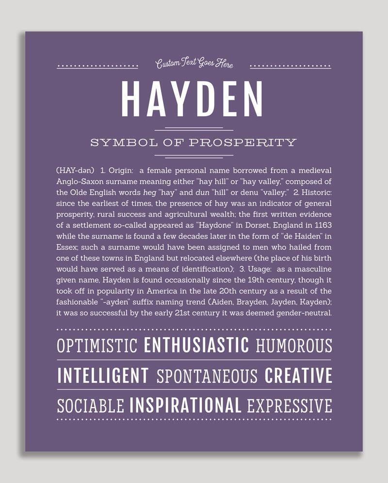 Hayden (female) | Classic Name Print | Classic names ...