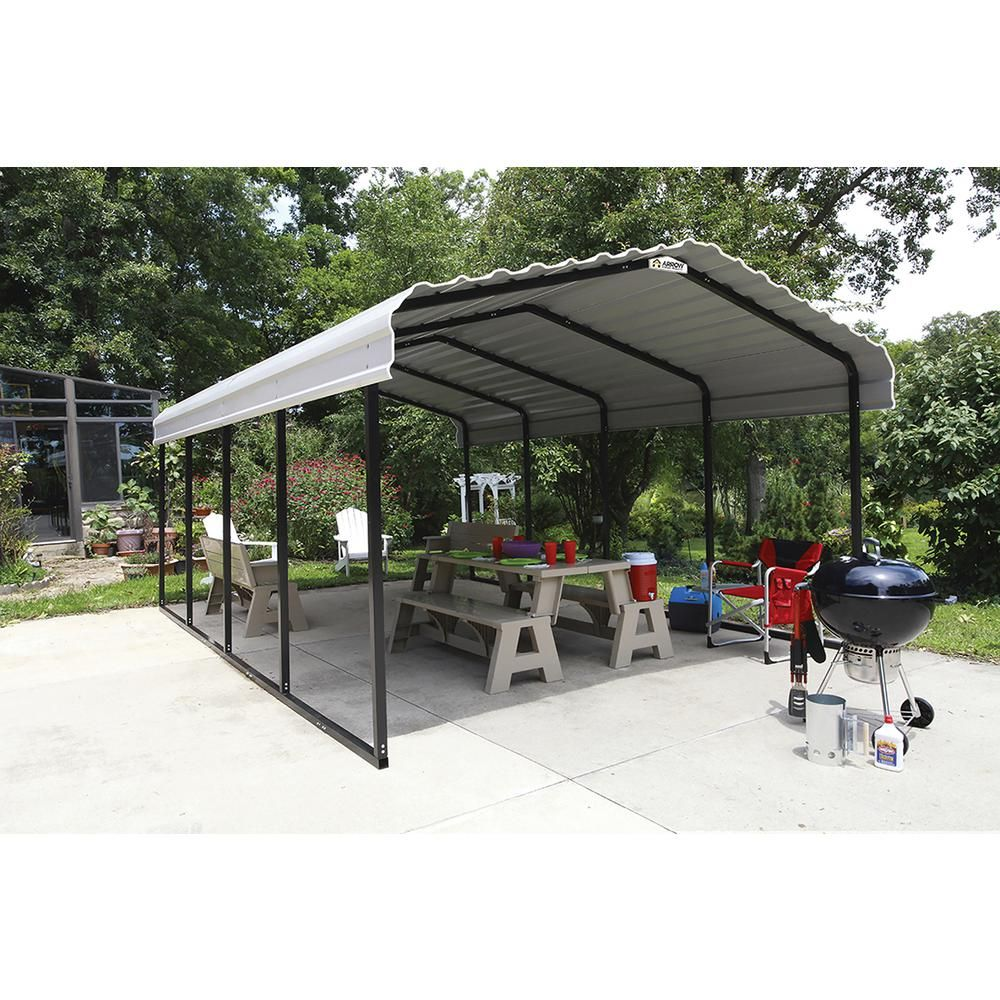 Arrow 12 Ft W X 20 Ft D Eggshell Galvanized Steel Carport Car Canopy And Shelter Cph122007 The Home Depot In 2020 Steel Carports Metal Carports Car Canopy