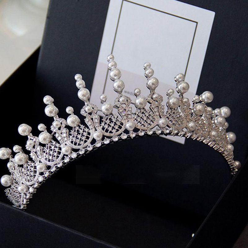 Silver pearl tiara~White pearl tiara~Wedding natur pearl tiara~Natural pearl hair accessory~Bride pearl tiara